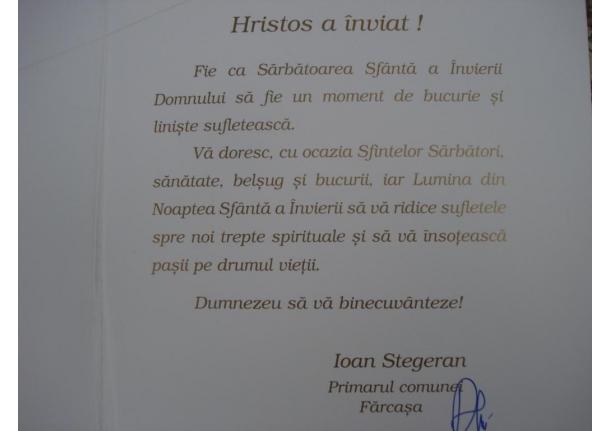 Mesajul de Paște al d-lui primar către cetățenii comunei